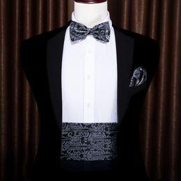 Silk tuxedoS online shopping - Black Paisley For Men Bow Tie Silk Gray Cummerbund Floral Set Pocket Square Cufflink Formal For Tuxedo Suit Barry WangYY