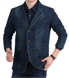 blazers NZ - V Neck Slim Straight Designer Mens Jean Jackets Long Sleeve Mens Denim Blazers With Pockets
