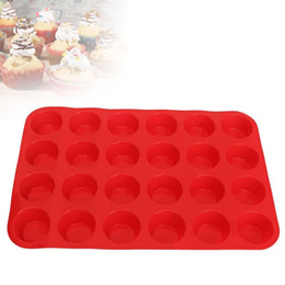 $enCountryForm.capitalKeyWord Australia - 24 Cavity Mini Muffin Cup Silicone Cookie Cupcake Bakeware Pan Soap Tray Mold Red Cake Mould