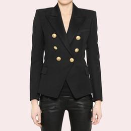 Lion Suit Australia - EXCELLENT QUALITY 2018 Stylish Classic Designer Blazer for Women Double Breasted Lion Metal Buttons Blazer Plus Size S-3XL #408821