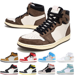 Discount shoes for boys years - 2019 New Travis Scotts x 1 High OG Mid Basketball Shoes Rookie Of The Year SPIDERMAN 1s Not For Resale Chicago Sports Sn