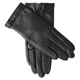 Leather fingerLess online shopping - Genuine Leather Gloves Female Winter Plus Velvet Thicken Driving Sheepskin Gloves Butterfly Knot Touchscreen L18010NC
