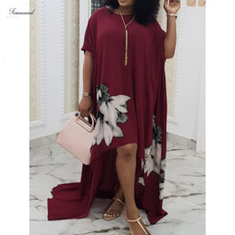 summer simple maxi dress sleeves Australia - Women Plus Size Long Dress Floral Print Chiffon Ladies Summer Short Sleeve Simple Party Elegant Loose Maxi Tshirt Dresses 2019