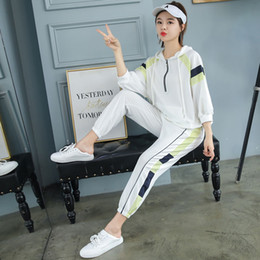 Wholesale summer women clothes Sports casual suit loose Korean new spring Cotton set hooded sweater fashion trend trousers two piece