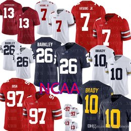 Ohio State Buckeyes 7 Haskins Jr Penn State Nittany Lions 26 Barkley  Alabama Crimson Tide 13 Tagovailoa Michigan Wolverines NCAA Jerseys b183cf004