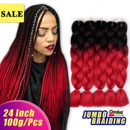 "$enCountryForm.capitalKeyWord Australia - Black Red 24"" Xpression Synthetic Hair Braids High Temperature Fiber Ombre Kanekalon Braiding Hair Extensions Wholesale Jumbo Braiding Hair"