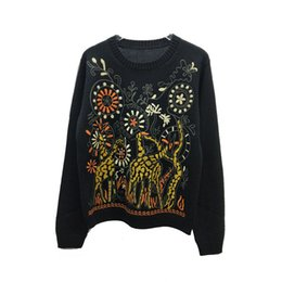 forest figures NZ - New wool blended round neck long sleeve embroidery abstract dynamic figure forest pattern in the spring of 2020 sweaters