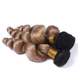 tone color 14 hair Australia - New Color Brown Blonde Human Hair Bundles 3Pcs Lot 100 Grams Loose Wave Ombre Hair Extensions Two Tone 1b 27 Honey Blonde Hair