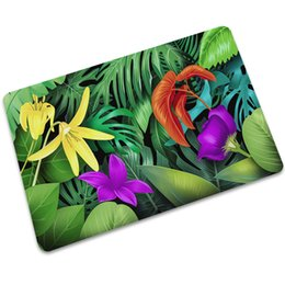 kitchen mat rug Australia - Green Plant Printed Welcome Rug Rubber Floor Waterproof Mat Modern Kitchen Mats Yoga Carpet Hall Rugs Absorbent Doormat