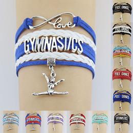$enCountryForm.capitalKeyWord NZ - 10PC lot Gymnastics Pole Dance Sports Love Infinity Love Antique Silver Charm Bracelets Women Men Girl Boys Jewelry Gift Many Styles