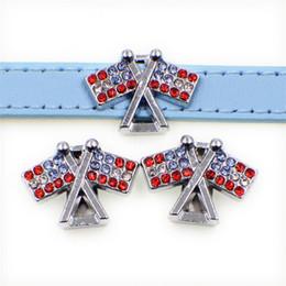 Discount charm wholesalers usa - Double USA Flag Slide Charms Full Rhinestone American Flag Sliders For 10mm Bracelet Wristband Dog Belt DIY Jewelry Maki