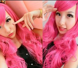 Red anime haiR wig online shopping - WIG Harajuku Lady Lolita Wigs Wavy Rose Red Synthetic Cosplay Anime Party Hair Wig