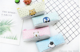 Dog Zipper Australia - Wholesale Nordic Animal Cat Dog Bear with Zipper PU Pencil Cases Portable Student Stationery Storage Pencil Bag for School Office Supplies