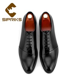 Sipriks Mens Genuine Leather Dress Oxfords High Quality Business Office Shoes  Grooms Black Wine Red Burgundy Gents Suit Formal f83cf6f16f8d