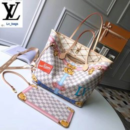 silk polyester NZ - New Padlock Silk Screen Badge Pattern White Grid Neverfull Shopping Bag N41065 Handbags Bags Top Handles Shoulder Bags Totes Evening