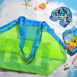 Black Swimming Toys Australia - Portable Beach Bag Foldable Mesh Swimming Bag For Children Beach Toy Baskets Storage Kids Outdoor Swimming Waterproof Bags #324718
