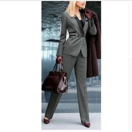 ladies tuxedos NZ - Top Fashion Rushed Pantalones Mujer Women Work Clothes Grey Ladies Custom Made Office Business Tuxedos Formal Suits Wear