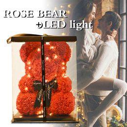 $enCountryForm.capitalKeyWord Australia - 2019 Creative 40cm Rose Bear Red Pink Wedding Eternal Flower With Ribbon Decoration Gift For Valentine's Day New Year J190711 J190715