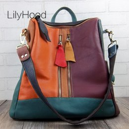 $enCountryForm.capitalKeyWord Australia - ulticolor Genuine Backpack Women High Quality Natural Knapsack for School Female Soft Leather Sling Bag Daypack Multicolor Genuine Leat...