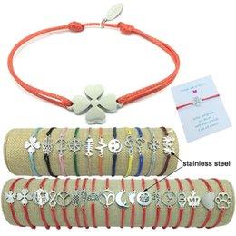 $enCountryForm.capitalKeyWord Australia - 2019 New Stainless Steel Charm Wish Bracelet Adjustable Cord Good Luck Bracelet Red String Friendship Bracelet