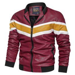 Wholesale men lether jackets for sale - Group buy 2019 New Fashion Men s Jackets High Quality Casual Lether Jacket Men Patchwork Slim Fit Stand Collor Lether Jacket Men M XL