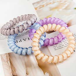 Wire crocheting online shopping - Free DHL Colors INS cm Telephone Wire Cord Gum Hair Tie Girls Elastic Hair Band Ring Rope Candy Color Bracelet Stretchy Scrunchy