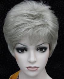 $enCountryForm.capitalKeyWord Australia - WBY new fashion hot light gray grey mix highlight women's short straight full wig