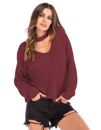 V Neck Pullover Jacket Australia - 2019 New Fashionable personality knitted sweater women's wear spring and autumn new neck V-neck loose pure color sweater jacket