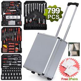 husky tool set 799pcs Aluminum Trolley Case Tool Set Silver Tool Organizers Toolbox Caixa De Ferramentas