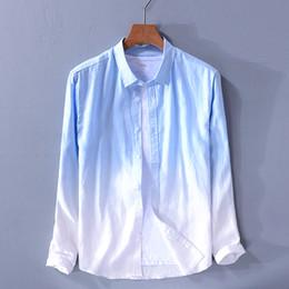 bafcd49613b5 2019 Italy style long-sleeved pure linen shirt men blue gradient shirt mens  fashion summer tops shirts