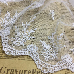 trims ribbons Australia - Lace Trim Ribbon Embroidered Flowers Lace Fabric 19cm Wide DIY Craft&Sewing Dress Clothing wedding Accessories white