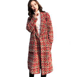 red plaid wool coat NZ - Autumn Winter Coat 2019 Woolen Overcoat Women Long Plaid Blend Coat Thick Wool Cashmere Coat Tweed Jacket Red Outwear 768 SH190905