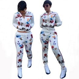women floral baseball jacket Canada - Fashion Floral Print Women Tracksuit Jacket Top + Pants Jogging Jogger Sets Sports Tracksuits Sweat Suits Fashion Sportswear free shipping