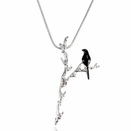 bird shaped jewelry Canada - Creative Black Bird on Y-shaped Branch Pendant Necklace Women Clavicle Chain Personality Simple Jewelry Gift For Women