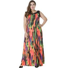 6XL 7XL Plus Size Dress Women Bohemian Long Dress Sleeveless Print Casual  Loose Pleated Maxi Dress Colorful Sundress Female aa43dd67327c