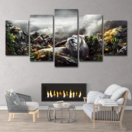 $enCountryForm.capitalKeyWord Australia - HD Printed Jungle Lion 5 Piece Picture Painting Wall Art Room Decor Print Poster Picture Canvas Free Shipping