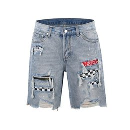Acrylic fly online shopping - Mens Denim Shorts Brand Destroyed Mens Designer Denim Straight Biker Jeans Ripped Hole with Colors