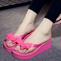 09c278927 High Heels Women Flip Flops Summer Sandals Platform Wedges Slippers Eva Bow  Fashion Beach Shoes Woman