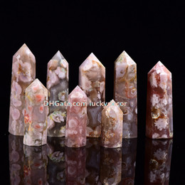 wealth flower Canada - 10Pc Natural Madagascar Snowflake Cherry Blossom Flower Agate Tower Point Column Quartz Crystal Healing Sakura Agate Wand Obelisk Collection