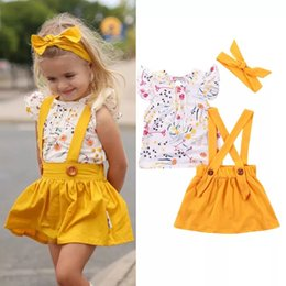 Girls Tassel Shirt Australia - INS Toddler Baby Girls 3pieces Fly Sleeve Floral Tees Solid Yellow Front Button Dresses with Hairbands Lovely Stylish Kids Girls Suits 1-6T