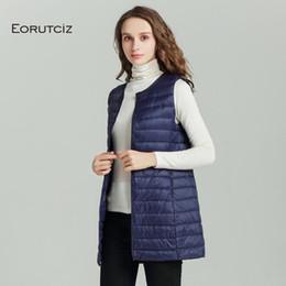 $enCountryForm.capitalKeyWord Australia - EORUTCIZ Winter Plus Size 4XL Down Women Vest Long Ultra Light Jacket Sleeveless Vintage Casual Waistcoat Autumn Coat LM510