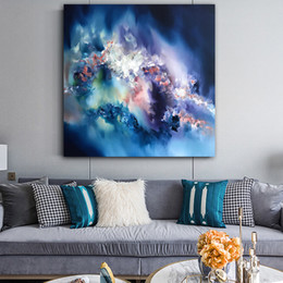art canvas prints Australia - 1 Piece Blue Abstract Canvas Painting Wall Art Posters and Prints Wall Art Picture for Living Room Home Decoration No Framed