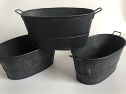Galvanized pots online shopping - D19XH9CM Old Rustic black Metal Tub Tin and Zinc Galvanised Planters Succulents Pots Herb Planters SF
