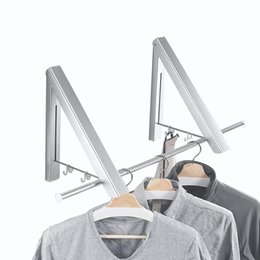 wall mounted clothes hanger rack UK - Folding Clothes Hanger Adjustable Drying Rack Retractable Coat Hanger Home Storage Organiser Instant Closet, Wall Mounted T200415