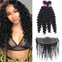 Discount human hair deep curly weave closure - 9A Indian Virgin Human Hair Bundles With Lace Frontal Deep Curly Wave Extensions 3Bundles With Lace Frontal Ear to Ear 1