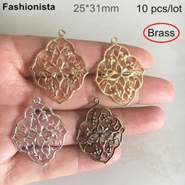 Rhombus Charms Australia - 10 pcs -25*31mm Brass Stamping Crafted Filigree Flower Charms,Rhombus Filigree Brass Pendant,The Loop is Open Design