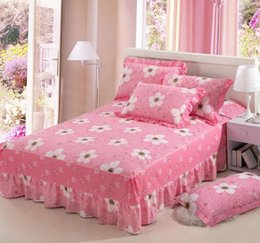 pink bedspreads queen size NZ - Pink flowers cotton twin full queen size Bed Skirt Bedspreads Bed Skirt cover 120x200cm 150x200cm 180x200cm bedding