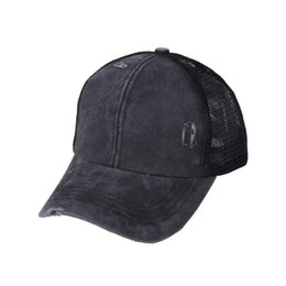 truckers caps wholesale UK - Ponytail Messy Buns Trucker Plain Baseball Visor Cap Unisex Hat No Panama And Bucket Hat, But Still Amazing In Summer Beanies
