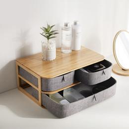 Cloths Storage Boxes Australia - Wooden Storage Box Cosmetic Organizer Bamboo Cloth Office Desktop Storage Casket Makeup Container Home Sundry Organiser