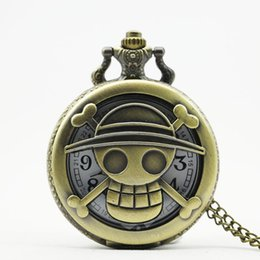 $enCountryForm.capitalKeyWord UK - Vintage Bronze Steampunk Quartz Pocket Watch Hollow Carribean Pirate Horror with Chain for Men Women Pendant necklace